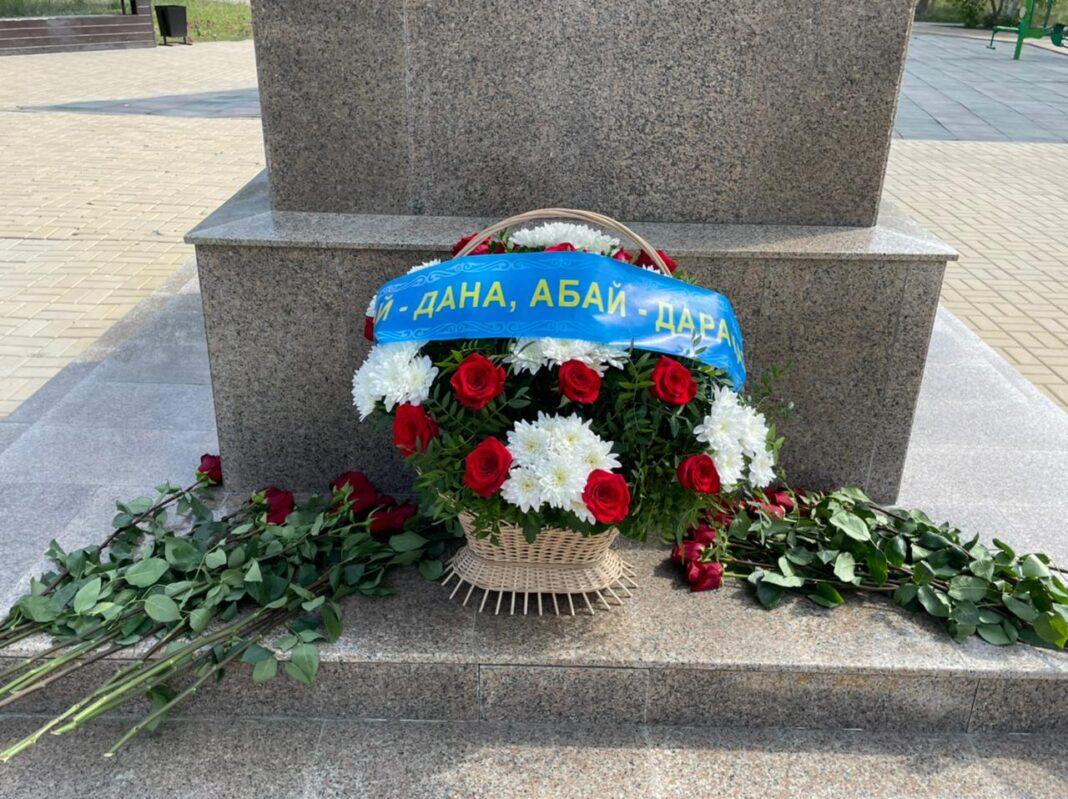 Abai monument Aktobe flowers